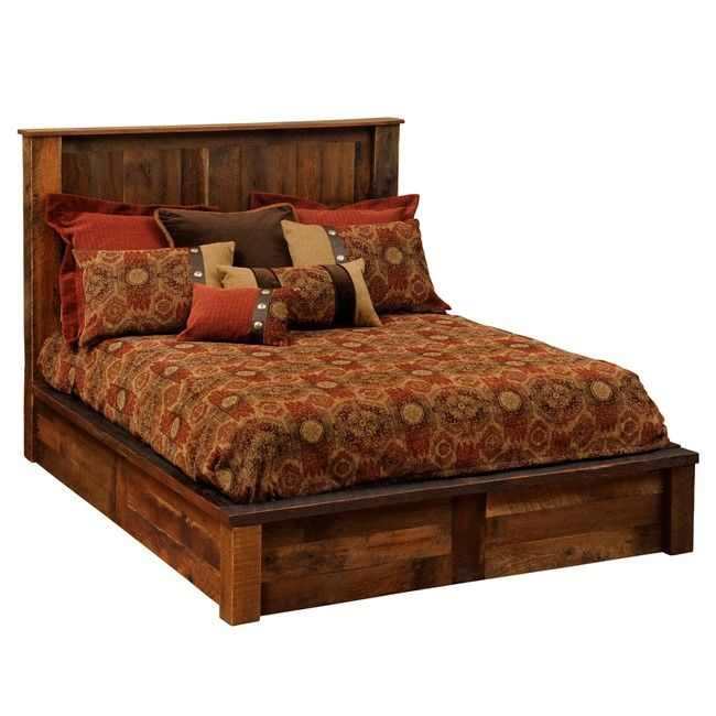 rustic platform  bed with storage | Rustic Barnwood Traditional Platform Bed Cal King - Reclaimed ...