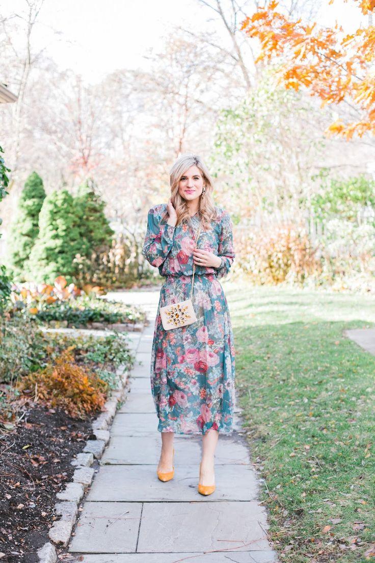 Bijuleni - What To Wear To a Fall Wedding - Elegant Floral Green Midi Dress