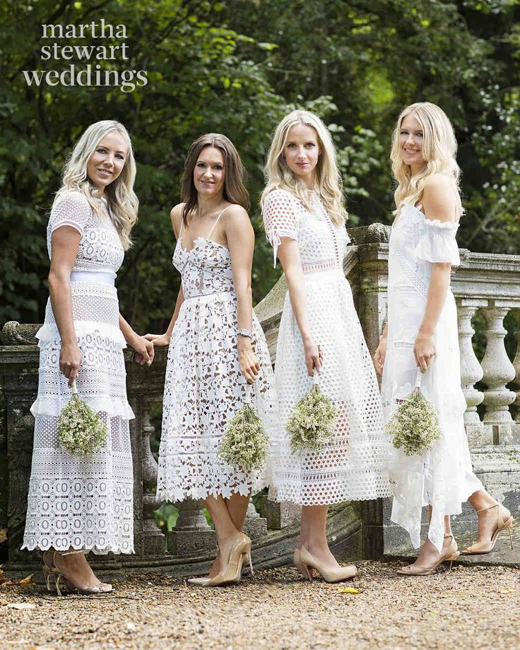 Exclusive: Louise Roe and Mackenzie Hunkin's Wedding Photos! | Martha Stewart Weddings - Louise's bridesmaids, friends from the U.K. and L.A., wore white crocheted-lace Self-Portrait dresses.