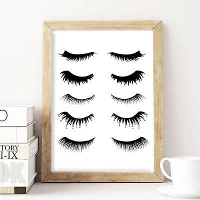 Eyelashes Makeup Wall Art Picture Print Graphic Home Decor Black White A4