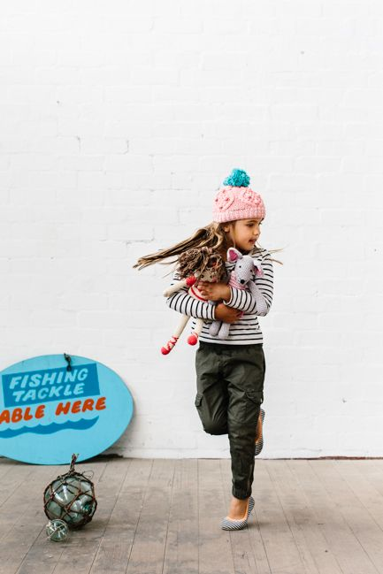 Knitted toys, beanies and rugs by La De Dah Kids. Shot by Tara Pearce.