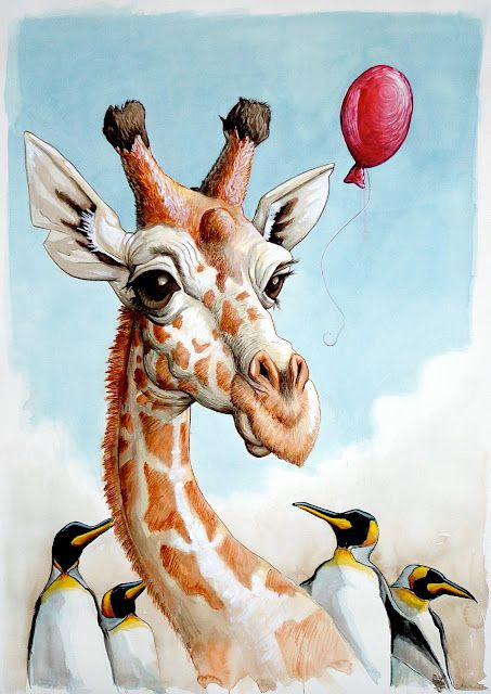 Giraffe with Penguins pen and ink wash by Chris Neuenschwander (this is just so festive) watercolours