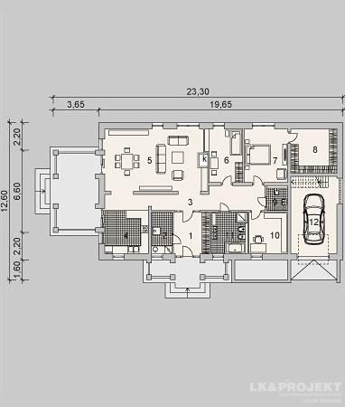 Projekty domów LK Projekt LK&989    rzuty Parter