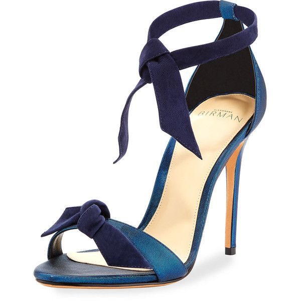 Alexandre Birman Clarita Suede & Satin 100mm Sandal ($595) ❤ liked on Polyvore featuring shoes, sandals, sandales, navy, shoes sandals, ankle strap shoes, navy shoes, ankle strap sandals, navy blue sandals and ankle tie sandals