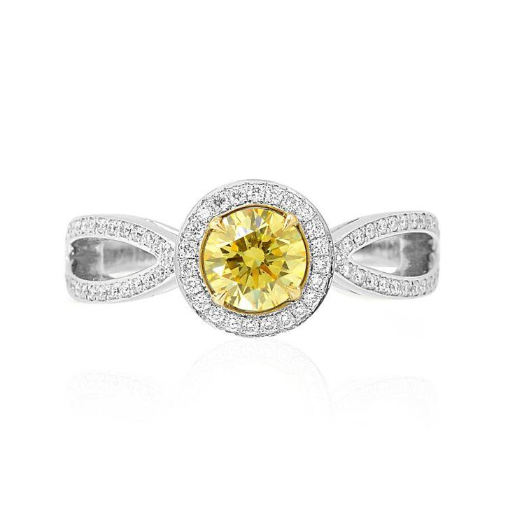 Fancy Intense Yellow Round Brilliant Diamond Engagement Ring, (0.9Ct TW)
