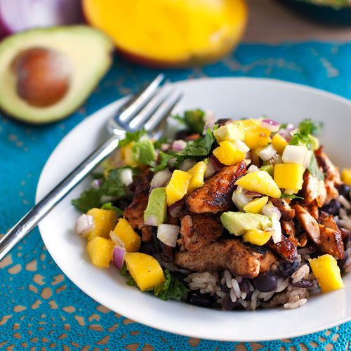 Caribbean Jerk Salmon Bowl with Mango Salsa | A tasty way to get your healthy fats for the day.