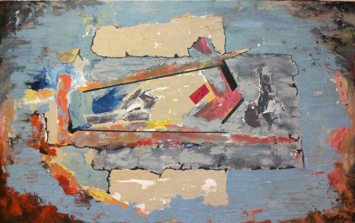 By Jesús Ojeda. Abstracto con técnica mixta (160x120 cm). Escuadra y compás