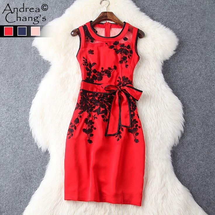 Goedkope Lente zomer runway designer womens jurken roze donkerblauw rode slanke…