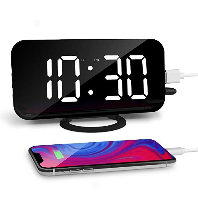 """LED Digital Alarm Clock with USB 6.5""""Large Display Clock with Dimmer for Bedroom"""