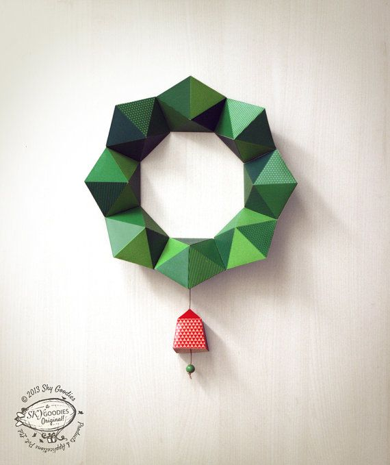 DIY Paper Christmas Wreath / Decor | Geometric Design: 2 sizes with Bells | Printable A4 size templates | Instant digital download on Etsy, $6.99