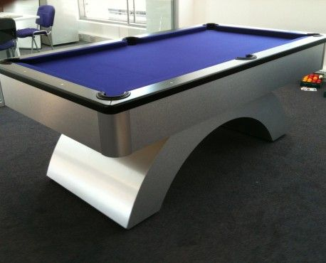 7ft Arched Contemporary UK Pool Table in Brushed Aluminium with Black Cushion Rail and Blue Cloth. Shop here: http://www.snookerandpooltablecompany.com/pool-tables/uk-pool-tables/contemporary-bespoke-uk-pool-tables/arched-contemporary-uk-pool-table-black-cushion-rail-and-blue-cloth.html