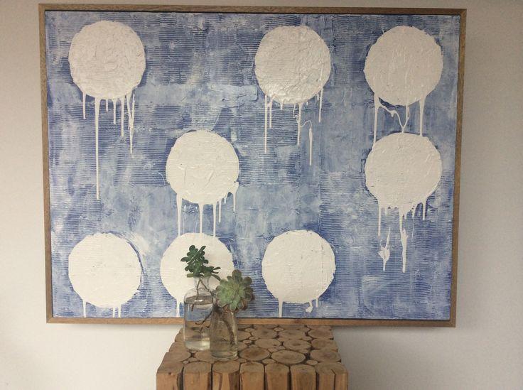 Art Abstract Painting (Daniela Kiss - Denim Buttonholes. Acrylic on Canvas/ Teak shadowbox frame 105X80cm)