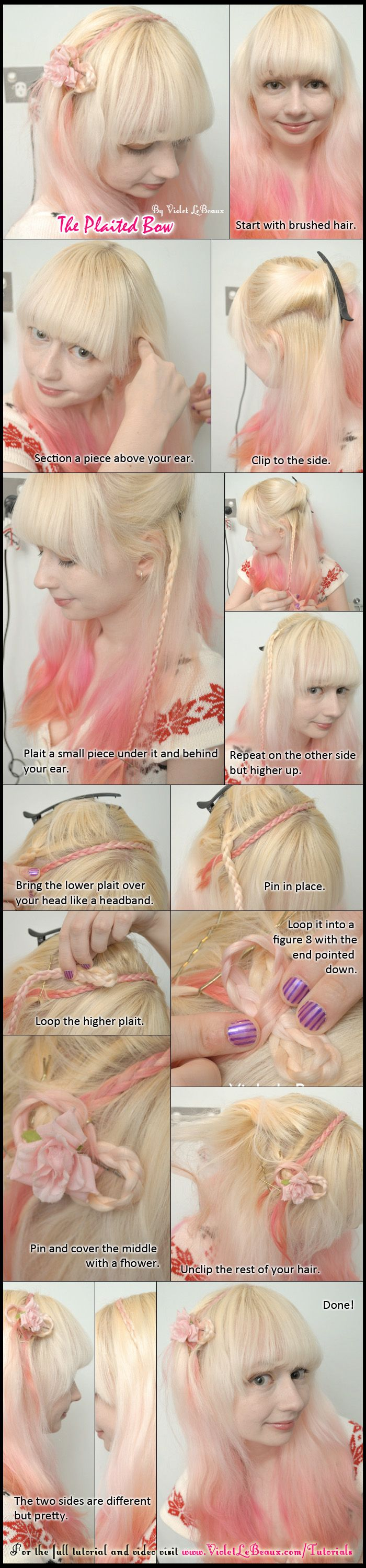 Simple tutorial with a twist on the plaited headband.   Full original tutorial over here: http://www.violetlebeaux.com/2010/12/hair-tutorial-casual-heartflower-side-plaits-_/