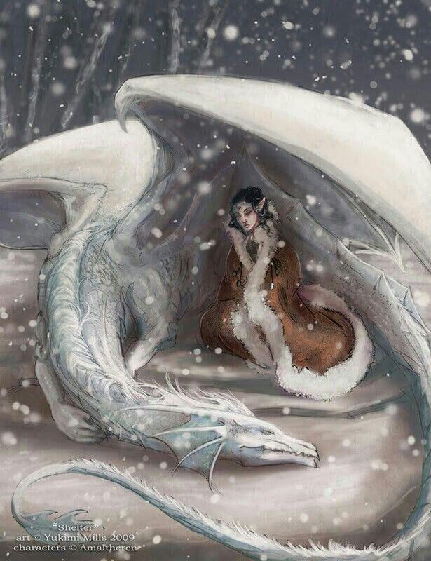 True love! http://lumaris.deviantart.com/art/Shelter-148727871  Dragons - imagine this as a little reading nook in a garden