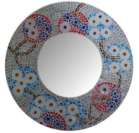 MOSAIC MIRROR 18 flowers by SunAndCraft on Etsy, $199.00