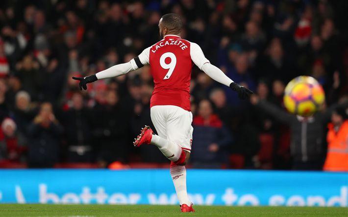 Download wallpapers Alexandre Lacazette, football, Arsenal FC, London, England, Premier League, United Kingdom, French footballer