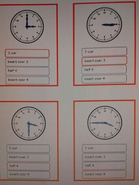 Kwartet klokkijken hele uren, halve uren en kwartieren. Te downloaden van digischool, o.v.v. Ria R.