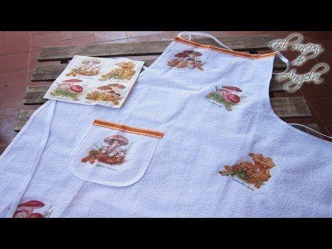 Como hacer decoupage en un delantal de tela, de una manera muy fácil. Ademas del decoupage sobre tela, en este vídeo, tienes un tip, para plastificar servill...