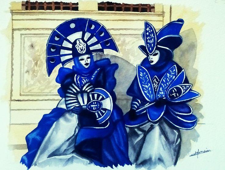 masques de venise bleus assis aquarelle christine monsion tableaux masques venise opale isis. Black Bedroom Furniture Sets. Home Design Ideas