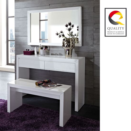 Spruce up your #bedroom with brand new white gloss #dressingtable and #mirror. This set owns perfect blend of quality and utility to meet storage requirements perfectly.