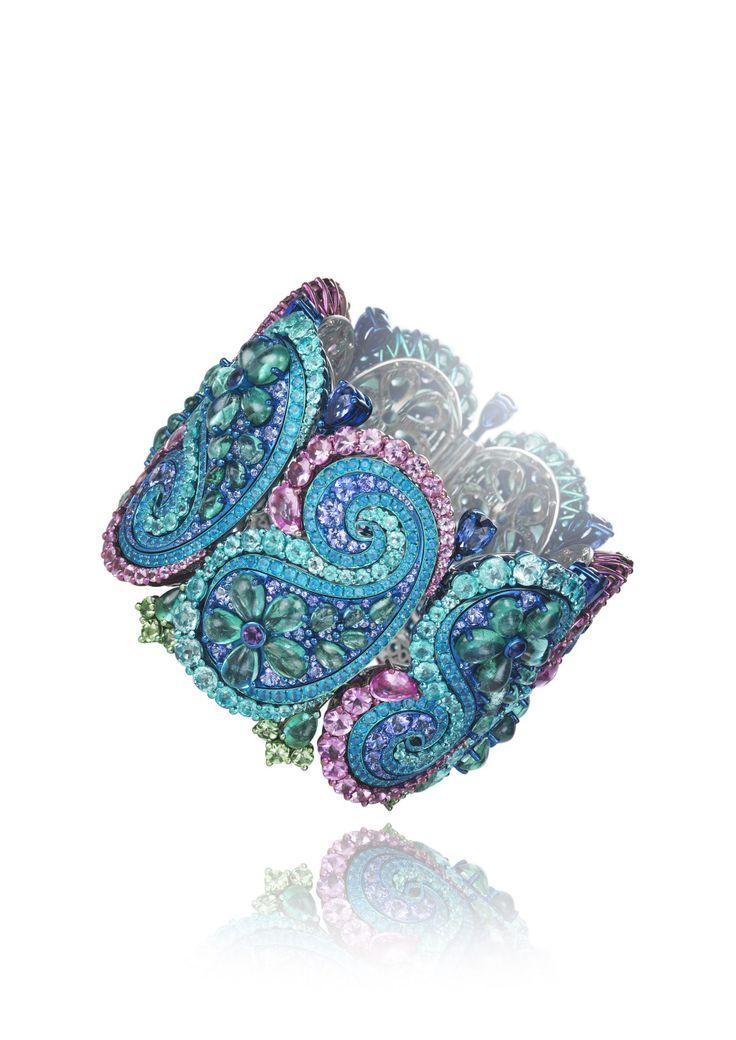 Chopard 2017 Red Carpet Collection Bracelet set with emeralds, Paraiba tourmalines, amethysts, tsavorites, tanzanites, apatite, diamonds, blue and pink sapphires
