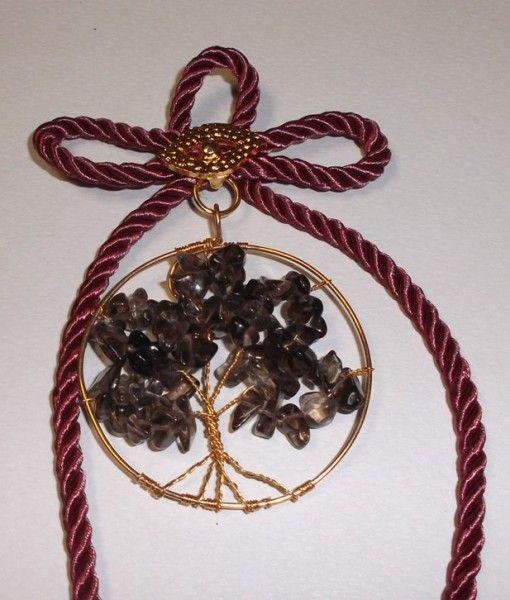 γουρι δεντρο ζωης επιχρυσο καπνια 20Χ6 -tree of life gold plated metal smoke stone