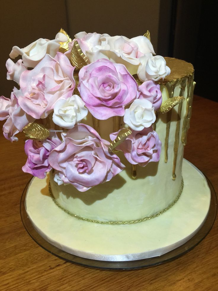 Gold and floral themed cake