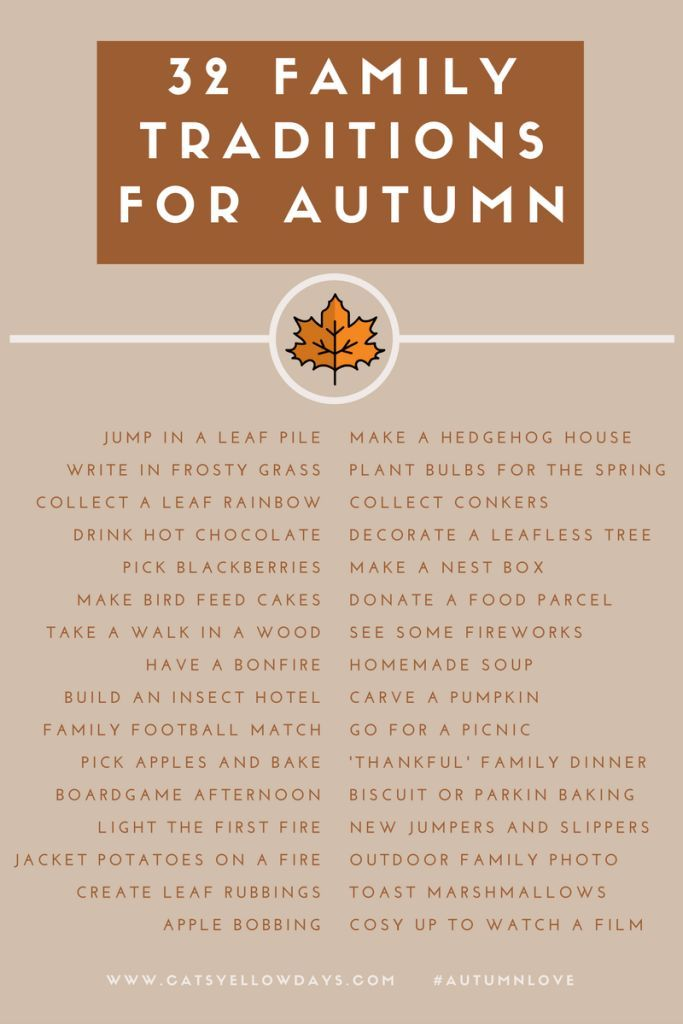 32 Autumn Family Traditions Printable - Lots of activities for you to enjoy with your family to make the most of Fall. Do them every year and build memories that will last a lifetime.