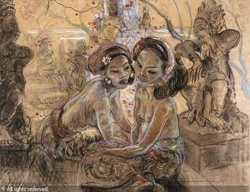 Two women in a Balinese garden - Jean Le Mayeur