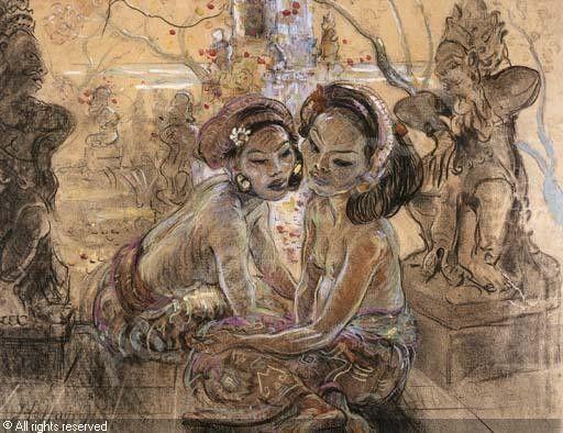 Two women in a Balinese garden - Jean Le Mayeur