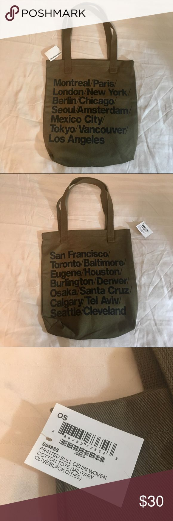 "American Apparel Cities Tote Bag NWT, no longer sold. Measures ~14"" across, ~15"" long. American Apparel Bags Totes"