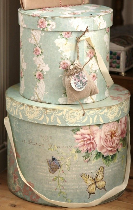 Shabby chic hat boxes. Perfect for top-of-the-wardrobe storage. Love it.