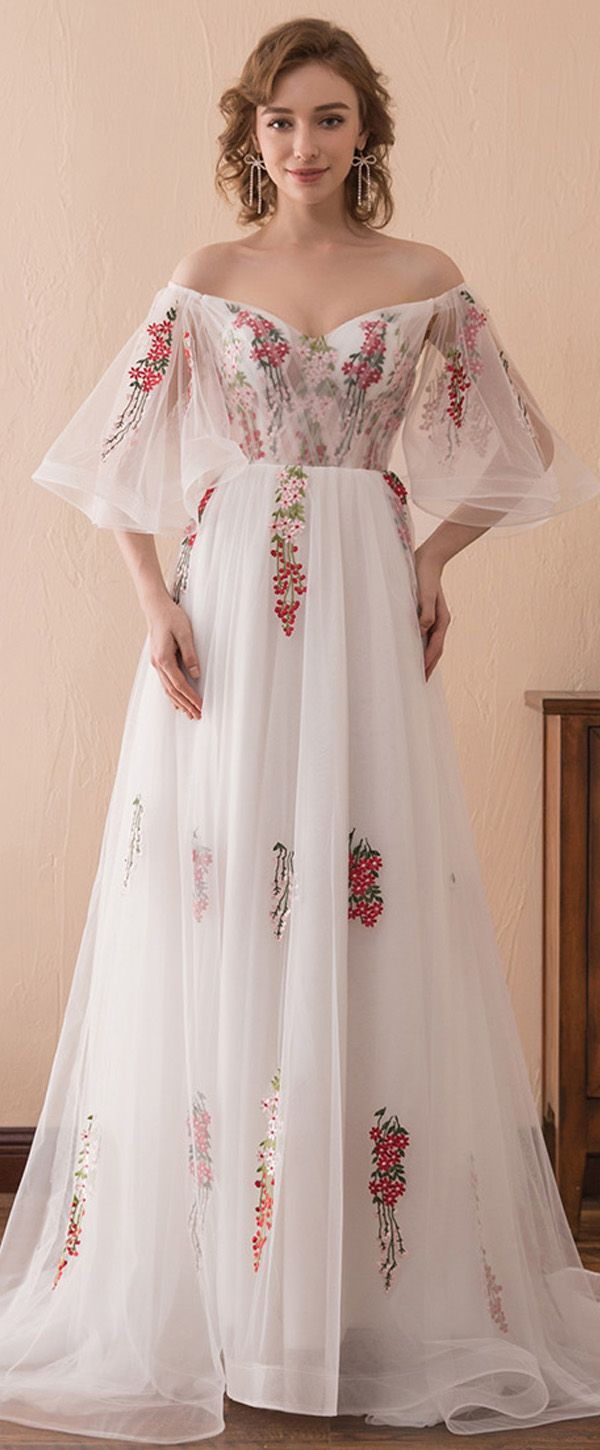 In Stock Gorgeous Tulle Off-the-shoulder Neckline Bell Sleeves A-line Prom Dress With Lace Appliques