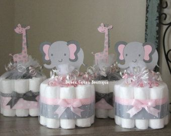 SET OF 4 Mini Pink And Gray Elephant And Giraffe Diaper Cakes, Girl Jungle  Baby