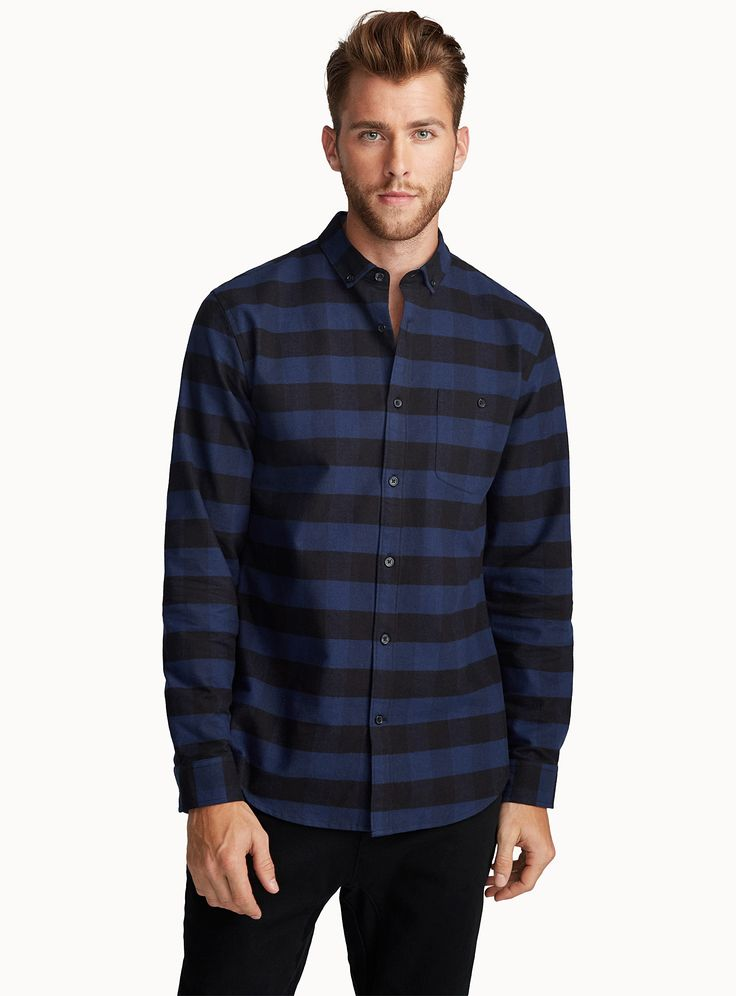 Buffalo oxford shirt Semi-tailored fit | Le 31 | Mens Check Shirts: Shop for a Casual Checked Shirt for Men | Simons