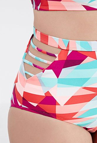 Plus Size High-Waisted Geo Bikini Bottom