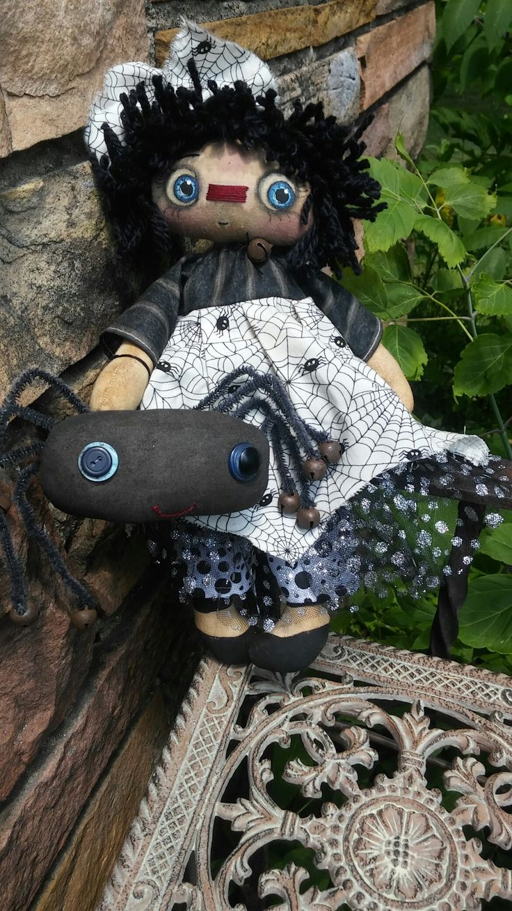 Annie and her pet spider available at Old Bag Designs on Facebook.