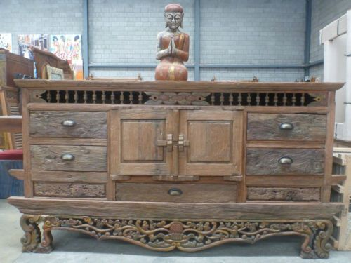 Merveilleux Bali Rustic Antique Natural Timber Log Wooden Furniture Console Cupboard  Dresser