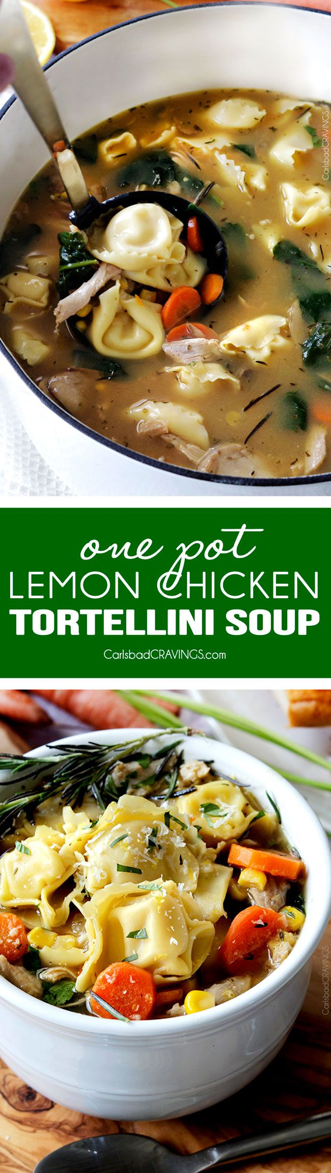 30 Minute, One Pot Lemon Chicken Tortellini Soup bursting with pillows of cheesy tortellini, tender chicken, and vegetables kissed with bright, refreshing lemon juice.  the best lemon soup and SO easy!!  via @carlsbadcraving