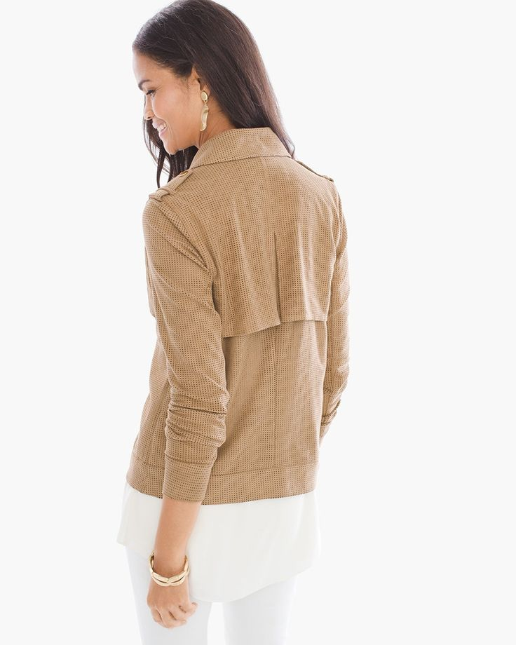 """Foiled Perforated Jacket in Neutral $149.  Softly structured (in even softer faux suede), this classically-styled jacket is perfected by perforated texture, gold-tone hardware and a lustrous foiled finish.  Snap button closure.  Regular length: 23"""".  Polyester, spandex.  Machine wash. Imported."""