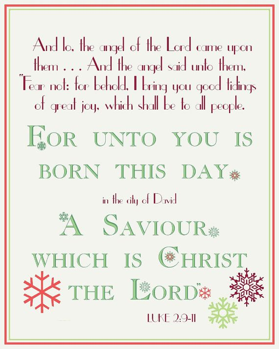 "The Meaning of Christmas ""For Unto You is Born this Day a Saviour..."" // Christmas Holiday Poster - Typography Style 8x10 DIY Printable :: by modBeeDesign, $8.00"