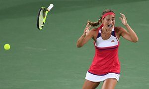 Mónica Puig reacts after winning gold.
