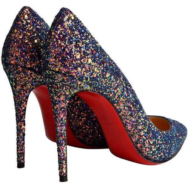 Christian Louboutin Pigalle Glitter Heels ($710) ❤ liked on Polyvore featuring shoes, pumps, christian louboutin pumps, high heel stilettos, leather pointed toe pumps, glitter shoes and high heel pumps