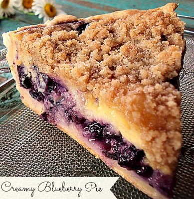Creamy Blueberry Pie This delicious pie has a layer of custard made with sour cream , not milk, that makes it not only creamy and blueberry delicious, but very easy to make.