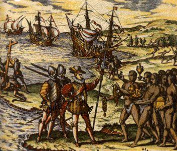Dit is de  ontdekking Amerika. Amerika is ontdekt door Christoffel Columbus op 12 okt 1492. Hij kwam aan op de huidige Bahama's hij dacht in Indië aangekomen te zijn en noemt daar om de inwoners indianen. Amerika is vernoemd naar Amerigo Vespucci.