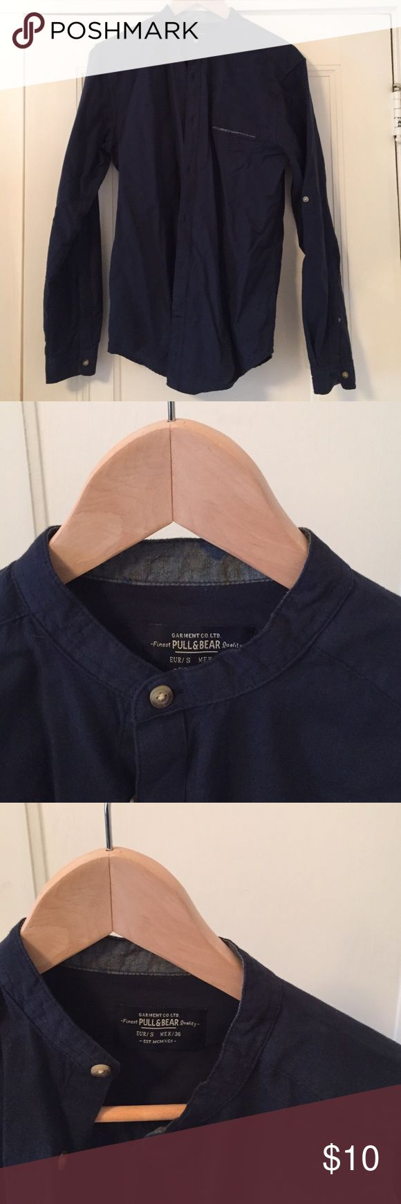 Pull & Bear Grandad Collar Shirt Button down grandad collar shirt, like new Pull&Bear Shirts Casual Button Down Shirts
