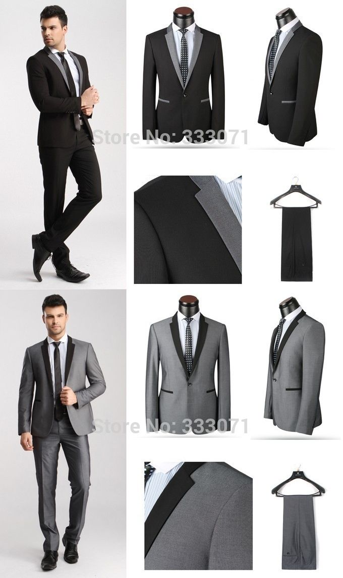 Custom Made Slim Fit Groom Tuxedos Light Grey Black Best Man Suit Wedding Groomsman Men Formal Suits Bridegroom Jacket Pants Tie Blazers
