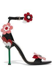 Floral-appliquéd patent-leather sandals