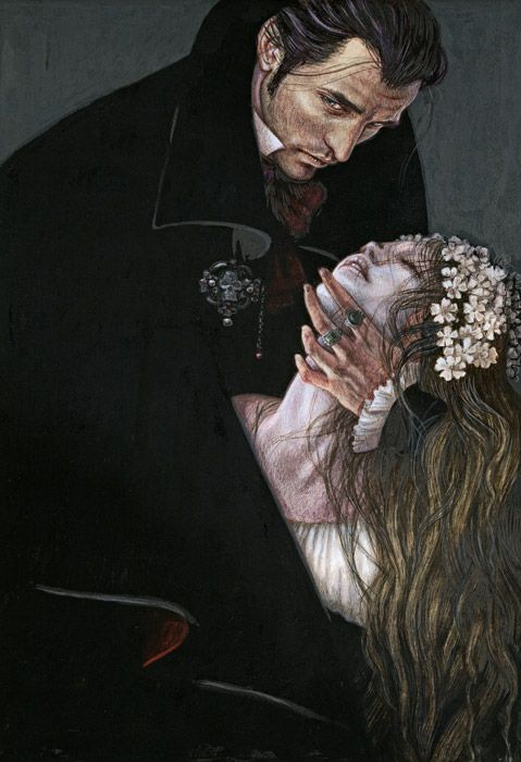 Artwork by Anne Yvonne Gilbert for The Folio Society's edition of The Vampyre and Other Macabre Tales by John William Polidori