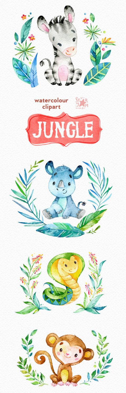 Jungle. Watercolor animals clipart zebra rhino by StarJamforKids